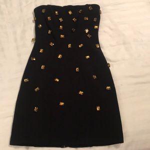 Black leopard button dress